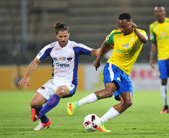 Sibusiso Vilakazi of Mamelodi Sundowns challenged by Marc van Heerden of Chippa United during the 2016 MTN8 Semifinal second leg football match between Mamelodi Sundowns and Chippa United at the Lucas Moripe Stadium in Pretoria, South Africa on September 21, 2016 ©Samuel Shivambu/BackpagePix