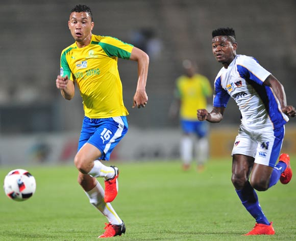 Ricardo Nascimento of Mamelodi Sundowns challenged by Menzi Masuku of Chippa United during the 2016 MTN8 Semifinal second leg football match between Mamelodi Sundowns and Chippa United at the Lucas Moripe Stadium in Pretoria, South Africa on September 21, 2016 ©Samuel Shivambu/BackpagePix