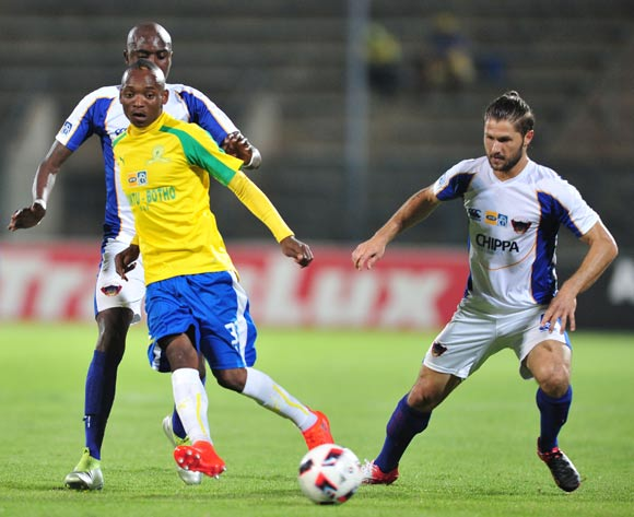 Khama Billiat of Mamelodi Sundowns challenged by Marc van Heerden of Chippa United during the 2016 MTN8 Semifinal second leg football match between Mamelodi Sundowns and Chippa United at the Lucas Moripe Stadium in Pretoria, South Africa on September 21, 2016 ©Samuel Shivambu/BackpagePix