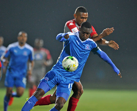 Evans Rusike of Maritzburg United challenged by Mario Booysen of Supersport United during the Absa Premiership 2016/17 match between Maritzburg United and Supersport United at Harry Gwala Stadium, Pietermaritzburg South Africa on 21 September 2016 ©Muzi Ntombela/BackpagePix