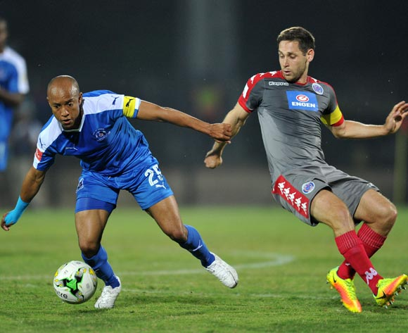 Kurt Lentjies of Maritzburg United challenged by Dean Furman of Supersport United during the Absa Premiership 2016/17 match between Maritzburg United and Supersport United at Harry Gwala Stadium, Pietermaritzburg South Africa on 21 September 2016 ©Muzi Ntombela/BackpagePix