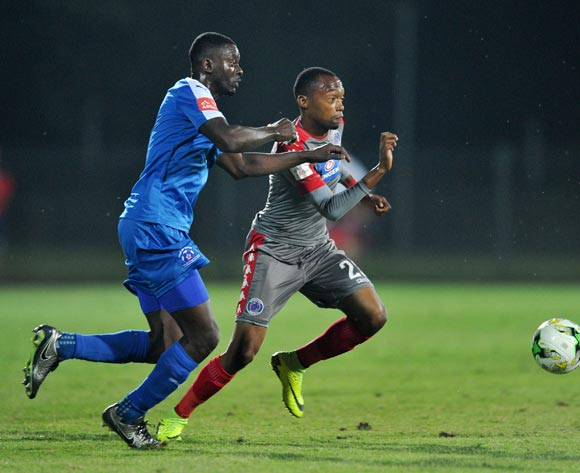 Thabo Mnyamane of Supersport United challenged by Denis Weidlich of Maritzburg United during the Absa Premiership 2016/17 match between Maritzburg United and Supersport United at Harry Gwala Stadium, Pietermaritzburg South Africa on 21 September 2016 ©Muzi Ntombela/BackpagePix