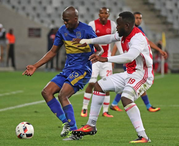 Mpho Matsi of Cape Town City FC tackled by Joaquim Lupeta of Ajax Cape Town during the Absa Premiership 2016/17 football match between Cape Town City FC and Ajax Cape Town at Cape Town Stadium, Cape Town on 23 September 2016 ©Chris Ricco/BackpagePix