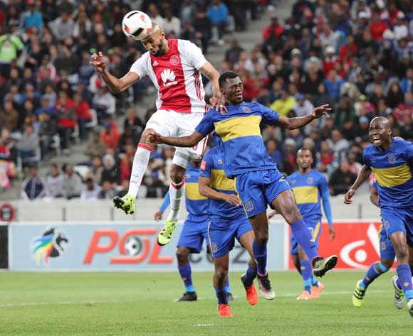 Nathan Paulse of Ajax Cape Town challenge for ball with Thato Mokeke of Cape Town City FC during the Absa Premiership 2016/17 football match between Cape Town City FC and Ajax Cape Town at Cape Town Stadium, Cape Town on 23 September 2016 ©Chris Ricco/BackpagePix