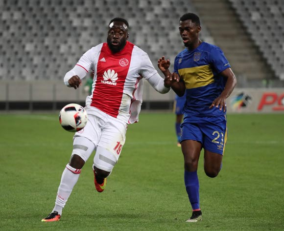 Joaquim Lupeta of Ajax Cape Town battles for the ball with Tshepo Gumede of Cape Town City FC during the Absa Premiership 2016/17 football match between Cape Town City FC and Ajax Cape Town at Cape Town Stadium, Cape Town on 23 September 2016 ©Chris Ricco/BackpagePix
