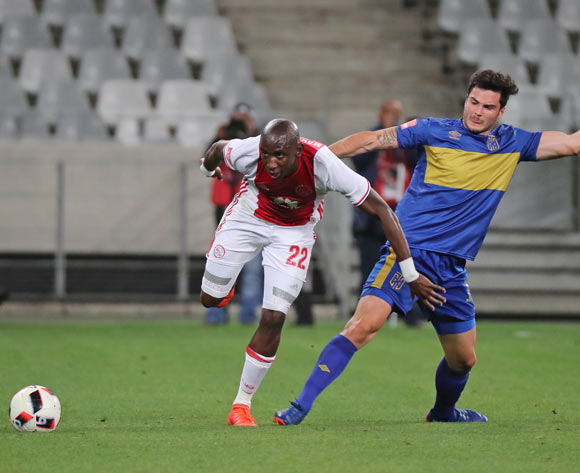 Mark Mayambela of Ajax Cape Town gets away from Roland Putsche of Cape Town City FC during the Absa Premiership 2016/17 football match between Cape Town City FC and Ajax Cape Town at Cape Town Stadium, Cape Town on 23 September 2016 ©Chris Ricco/BackpagePix