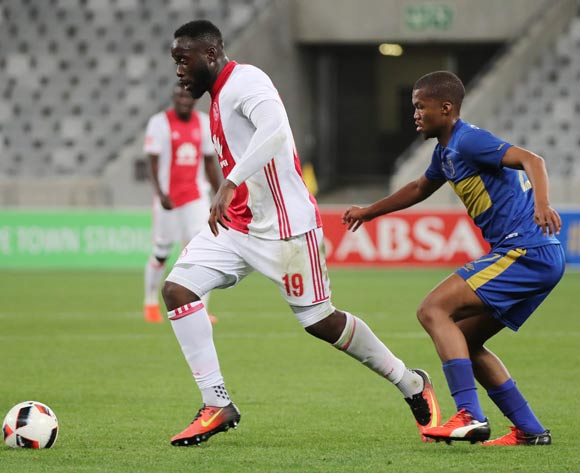 Joaquim Lupeta of Ajax Cape Town evades challenge from Tshepo Gumede of Cape Town City FC during the Absa Premiership 2016/17 football match between Cape Town City FC and Ajax Cape Town at Cape Town Stadium, Cape Town on 23 September 2016 ©Chris Ricco/BackpagePix