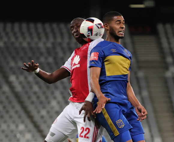 Mark Mayambela of Ajax Cape Town battles for the ball with Ebrahim Seedat of Cape Town City FC during the Absa Premiership 2016/17 football match between Cape Town City FC and Ajax Cape Town at Cape Town Stadium, Cape Town on 23 September 2016 ©Chris Ricco/BackpagePix