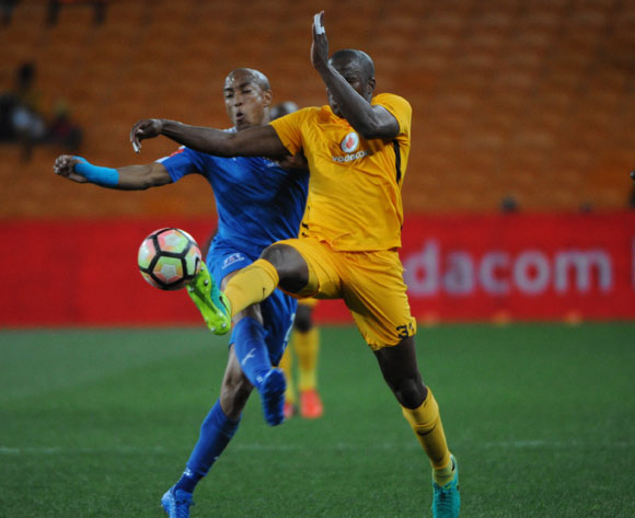 Willard Katsande of Kaizer Chiefs is challenged by Kurt Lentjies of Maritzburg United during the Absa Premiership match between Kaizer Chiefs and Maritzburg United on the  24 September 2016 at FNB Stadium Pic Sydney Mahlangu/ BackpagePix