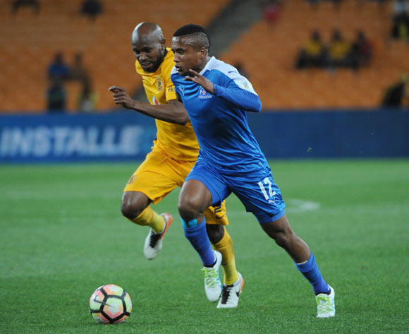 Ramahlwe Mphahlele of Kaizer Chiefs challenges Sheldon Van Wyk of Maritzburg United  during the Absa Premiership match between Kaizer Chiefs and Maritzburg United on the  24 September 2016 at FNB Stadium Pic Sydney Mahlangu/ BackpagePix