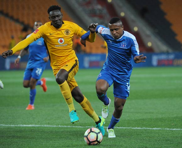 Erick Mathoho of Kaizer Chiefs challenges Sheldon Van Wyk of Maritzburg United  during the Absa Premiership match between Kaizer Chiefs and Maritzburg United on the  24 September 2016 at FNB Stadium Pic Sydney Mahlangu/ BackpagePix