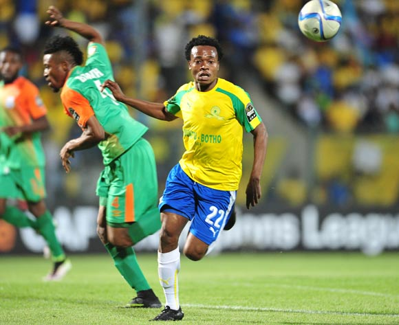 Percy Tau of Mamelodi Sundowns challenged by Adama Ben Bahn of Zesco during the 2016 CAF Champions League match between Mamelodi Sundowns and Zesco at the Lucas Moripe Stadium in Pretoria, South Africa on September 24, 2016 ©Samuel Shivambu/BackpagePix
