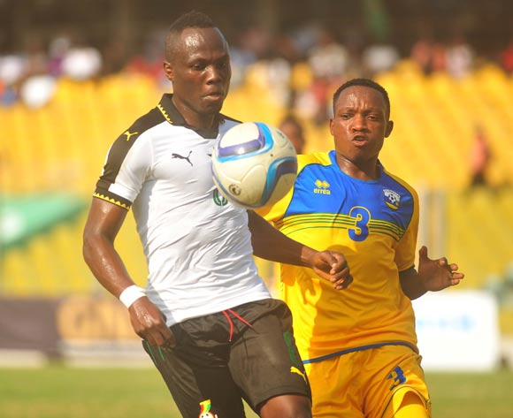 Ndayishmiye Celestin of Rwanda challenging Agyemang Badu of Ghana during the 2017 African Cup of National  Qualifiers playing on 3rd September 2016 in Accra Ghana between Ghana and Rwanda ©Christian Thompson/BackpagePix