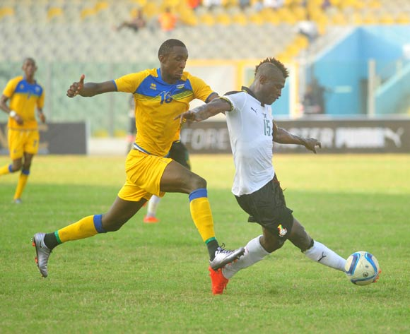 Sugira Ernest of Rwanda challenging Edwin Gyimah of Ghana during the 2017 African Cup of National  Qualifiers playing on 3rd September 2016 in Accra Ghana between Ghana and Rwanda ©Christian Thompson/BackpagePix