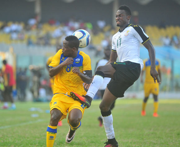 Niyonzima Haruna of Rwanda challenging Baba Rahman of Ghana during the 2017 African Cup of National  Qualifiers playing on 3rd September 2016 in Accra Ghana between Ghana and Rwanda ©Christian Thompson/BackpagePi