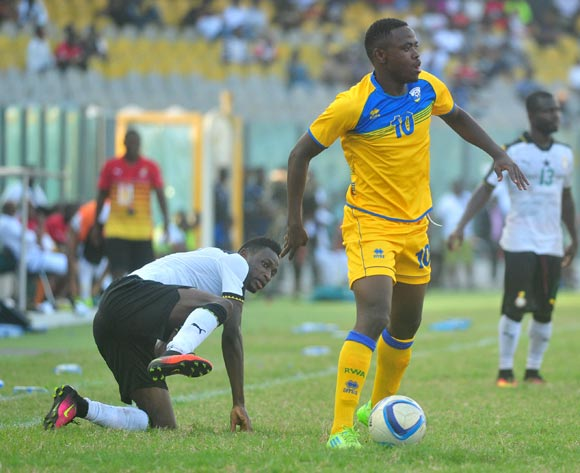 Baba Rahman(L) of Ghana Hakizinnya Muhadjiri (R)of Rwanda  during the 2017 African Cup of National  Qualifiers playing on 3rd September 2016 in Accra Ghana between Ghana and Rwanda ©Christian Thompson/BackpagePix