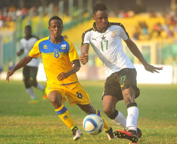 Niyonzima Haruna of Rwanda challenging Baba Rahman of Ghana during the 2017 African Cup of National  Qualifiers playing on 3rd September 2016 in Accra Ghana between Ghana and Rwanda ©Christian Thompson/BackpagePix