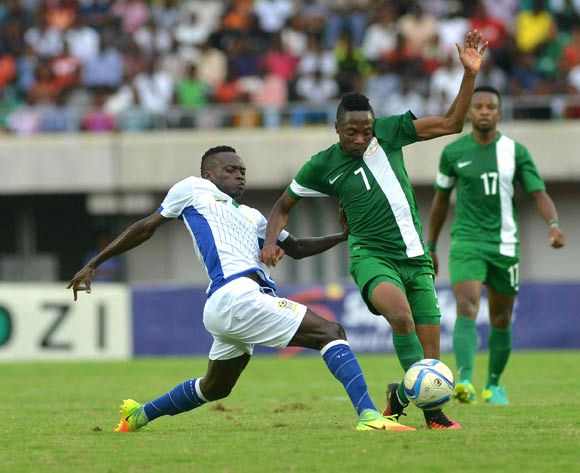 Ahmed Musa of Nigeria beats Mohammed Hussain of Tanzania during a 2017 AFCON Qualifier last month