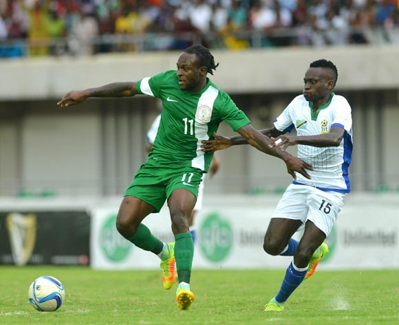 Victor Moses of Nigeria (left) against Tanzania during a 2017 AFCON Qualifier