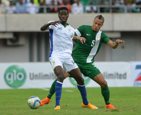 Troost- Ekong (right) challenges John Rapheal Boko of Tanzania during the 2017 AFCON Qualifier match between Nigeria and Tanzania