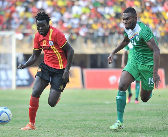 Youssofa Mmadi Camal of Comores challenges Moses Oloya of Uganda during the 2017 Africa Cup of Nations Qualifier on 04 September 2016 at Mandela Stadium, Namboole. ©Ismail Kezaala/BackpagePix