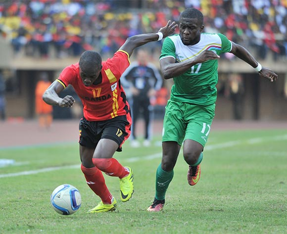 Chamed Nasser of Comores challenges Farouk Miya of Uganda during the 2017 Africa Cup of Nations Qualifier on 04 September 2016 at Mandela Stadium, Namboole. ©Ismail Kezaala/BackpagePix