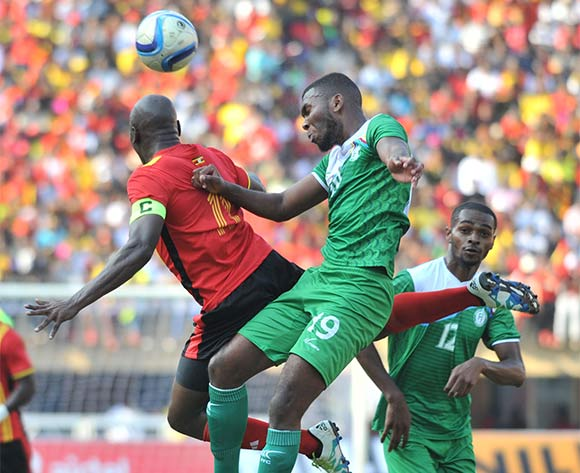 Geofrey Massa of Uganda and Youssofa Mmadi Camal of Comores head the ball during the 2017 Africa Cup of Nations Qualifier on 04 September 2016 at Mandela Stadium, Namboole. ©Ismail Kezaala/BackpagePix