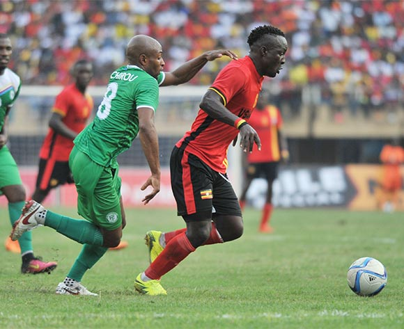 Bachirou Fouad of Comores challenge Tonny Mawejje of Uganda during the 2017 Africa Cup of Nations Qualifier on 04 September 2016 at Mandela Stadium, Namboole. ©Ismail Kezaala/BackpagePix