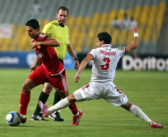 Zamalek's Tarek Hamed makes a tackle