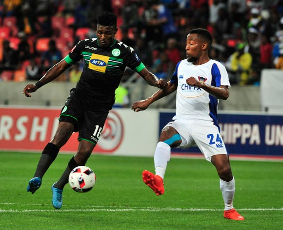 Vuyisile Wana of Bloemfontein Celtic and Thopola Diamond of Chippa United during the Absa Premiership 2016/17 match between Chippa United and Bloemfontein Celtic at Nelson Mandela Bay Stadium, Port Elizabeth South Africa on 25 October 2016 ©Deryck Foster/BackpagePix