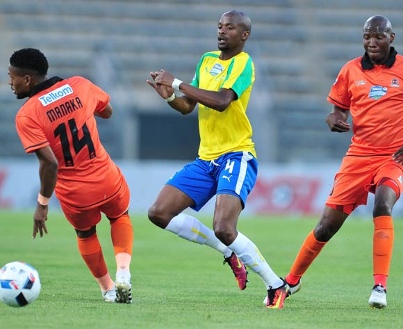 Tebogo Langerman of Mamelodi Sundowns challenged by Edgar Manaka and Jabulani Maluleke of Polokwane City during the 2016 Telkom Knockout match between Mamelodi Sundowns and Polokwane City at the Lucas Moripe Stadium in Pretoria on the 27 October 2016©Samuel Shivambu/Backpagepix