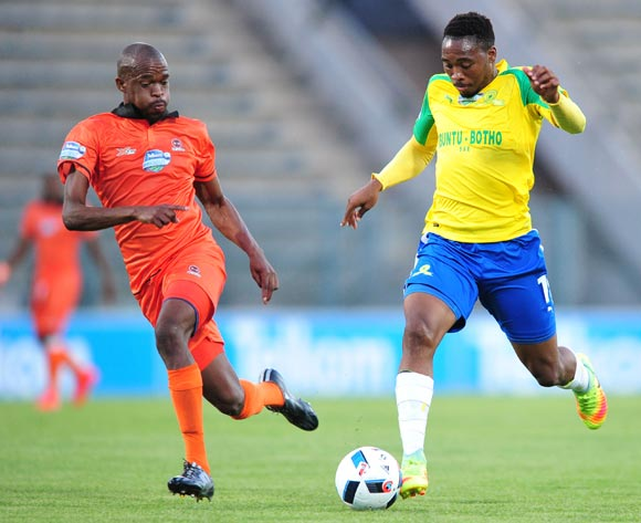 Sibusiso Vilakazi of Mamelodi Sundowns challenged by Sibusiso Mbonani of Polokwane City during the 2016 Telkom Knockout match between Mamelodi Sundowns and Polokwane City at the Lucas Moripe Stadium in Pretoria on the 27 October 2016©Samuel Shivambu/Backpagepix