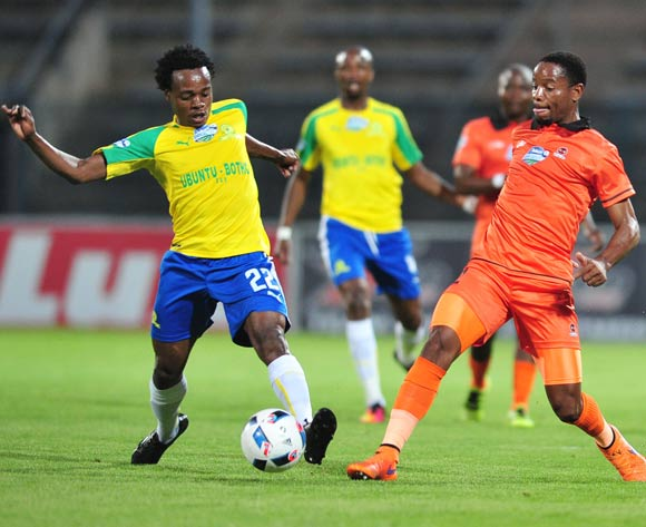 Percy Tau of Mamelodi Sundowns challenged by Thabiso Semenya of Polokwane City during the 2016 Telkom Knockout match between Mamelodi Sundowns and Polokwane City at the Lucas Moripe Stadium in Pretoria on the 27 October 2016©Samuel Shivambu/Backpagepix