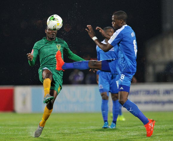 Danny Phiri of Golden Arrows challenged by Siphesihle Ndlovu of Maritzburg United during the Absa Premiership 2016/17 match between Maritzburg United and Golden Arrows at Harry Gwala Stadium, Pietermaritzburg South Africa on 28 October 2016 ©Muzi Ntombela/BackpagePix