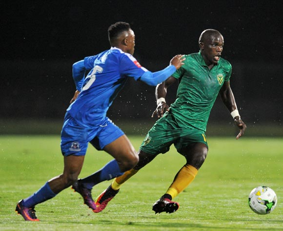 Lebohang Maboe of Maritzburg United challenges Siyabonga Dube of Golden Arrows during the Absa Premiership 2016/17 match between Maritzburg United and Golden Arrows at Harry Gwala Stadium, Pietermaritzburg South Africa on 28 October 2016 ©Muzi Ntombela/BackpagePix