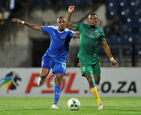 Wayde Jooste of Golden Arrows challenged by Deolin Mekoa of Maritzburg United during the Absa Premiership 2016/17 match between Maritzburg United and Golden Arrows at Harry Gwala Stadium, Pietermaritzburg South Africa on 28 October 2016 ©Muzi Ntombela/BackpagePix