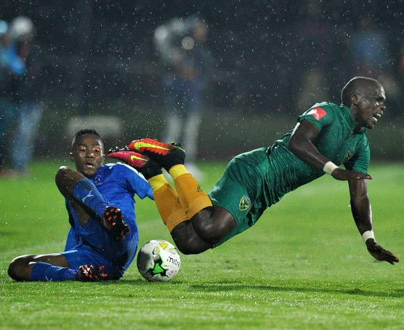 Lebohang Maboe of Maritzburg United tackles Siyabonga Dube of Golden Arrows during the Absa Premiership 2016/17 match between Maritzburg United and Golden Arrows at Harry Gwala Stadium, Pietermaritzburg South Africa on 28 October 2016 ©Muzi Ntombela/BackpagePix