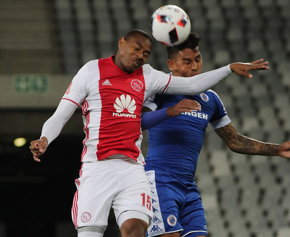 Prince Nxumalo of Ajax Cape Town battles for the ball with Clayton Daniels of SuperSport United during the Absa Premiership 2016/17 football match between Ajax Cape Town and SuperSport United at Cape Town Stadium, Cape Town on 29 October 2016 ©Chris Ricco/BackpagePix