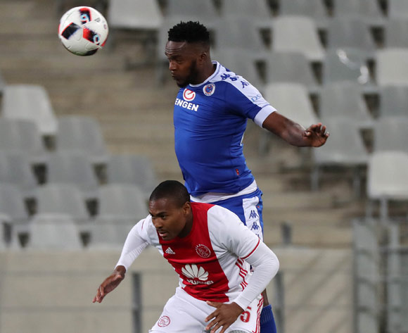 Morgan Gould of SuperSport United battles for the ball with Prince Nxumalo of Ajax Cape Town during the Absa Premiership 2016/17 football match between Ajax Cape Town and SuperSport United at Cape Town Stadium, Cape Town on 29 October 2016 ©Chris Ricco/BackpagePix