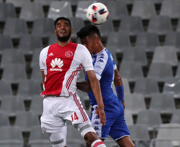 Tashreeq Morris of Ajax Cape Town battles for the ball with Clayton Daniels of SuperSport United during the Absa Premiership 2016/17 football match between Ajax Cape Town and SuperSport United at Cape Town Stadium, Cape Town on 29 October 2016 ©Chris Ricco/BackpagePix