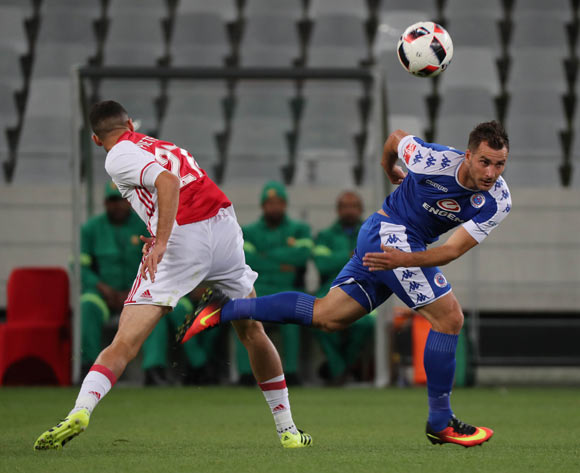 Bradley Grobler of SuperSport United battles for the ball with Roscoe Pietersen of Ajax Cape Town during the Absa Premiership 2016/17 football match between Ajax Cape Town and SuperSport United at Cape Town Stadium, Cape Town on 29 October 2016 ©Chris Ricco/BackpagePix