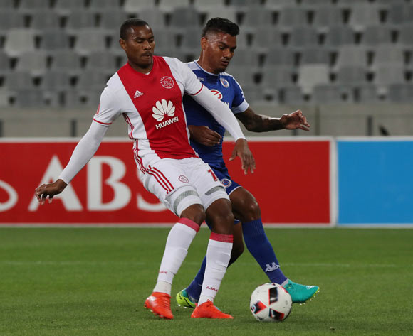 Prince Nxumalo of Ajax Cape Town evades challenge from Clayton Daniels of SuperSport United during the Absa Premiership 2016/17 football match between Ajax Cape Town and SuperSport United at Cape Town Stadium, Cape Town on 29 October 2016 ©Chris Ricco/BackpagePix