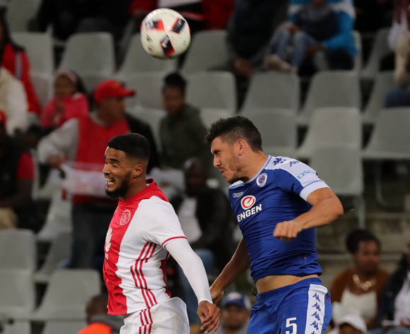 Tashreeq Morris of Ajax Cape Town battles for the ball with Michael Boxall of SuperSport United during the Absa Premiership 2016/17 football match between Ajax Cape Town and SuperSport United at Cape Town Stadium, Cape Town on 29 October 2016 ©Chris Ricco/BackpagePix