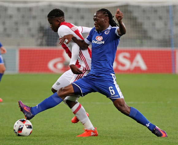 Ndiviwe Mdabuka of Ajax Cape Town tackled by Reneilwe Letsholonyane of SuperSport United during the Absa Premiership 2016/17 football match between Ajax Cape Town and SuperSport United at Cape Town Stadium, Cape Town on 29 October 2016 ©Chris Ricco/BackpagePix