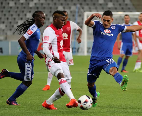 Ndiviwe Mdabuka of Ajax Cape Town evades challenge from Cole Alexander of SuperSport United (r) and Reneilwe Letsholonyane of SuperSport United during the Absa Premiership 2016/17 football match between Ajax Cape Town and SuperSport United at Cape Town Stadium, Cape Town on 29 October 2016 ©Chris Ricco/BackpagePix