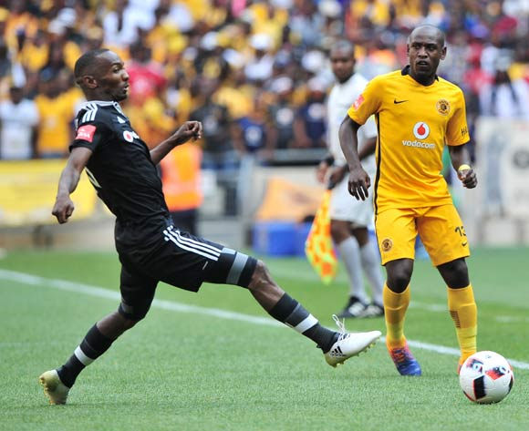 Sibusiso Khumalo of Kaizer Chiefs plays the ball down the line as he is closed down by Thabo Rakhale of Orlando Pirates during the Absa Premiership 2016/17 game between Orlando Pirates and Kaizer Chiefs at FNB Stadium, Johannesburg on 29 October 2016 © Ryan Wilkisky/BackpagePix
