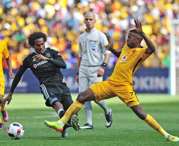 William Twala of Kaizer Chiefs gets to the ball ahead of Issa Sarr of Orlando Pirates during the Absa Premiership 2016/17 game between Orlando Pirates and Kaizer Chiefs at FNB Stadium, Johannesburg on 29 October 2016 © Ryan Wilkisky/BackpagePix
