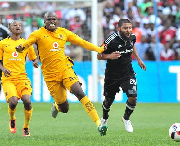 Riyaad Norodien of Orlando Pirates is held back by Willard Katsande of Kaizer Chiefs during the Absa Premiership 2016/17 game between Orlando Pirates and Kaizer Chiefs at FNB Stadium, Johannesburg on 29 October 2016 © Ryan Wilkisky/BackpagePix