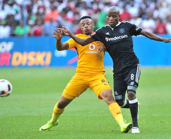Thabo Matlaba of Orlando Pirates is challenged by Edward Manqele of Kaizer Chiefs during the Absa Premiership 2016/17 game between Orlando Pirates and Kaizer Chiefs at FNB Stadium, Johannesburg on 29 October 2016 © Ryan Wilkisky/BackpagePix