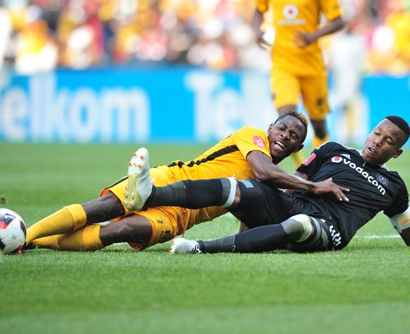 Michelle Katsvairo of Kaizer Chiefs challenged by Happy Jele of Orlando Pirates during the Absa Premiership 2016/17 game between Orlando Pirates and Kaizer Chiefs at FNB Stadium, Johannesburg on 29 October 2016 © Samuel Shivambu/BackpagePix